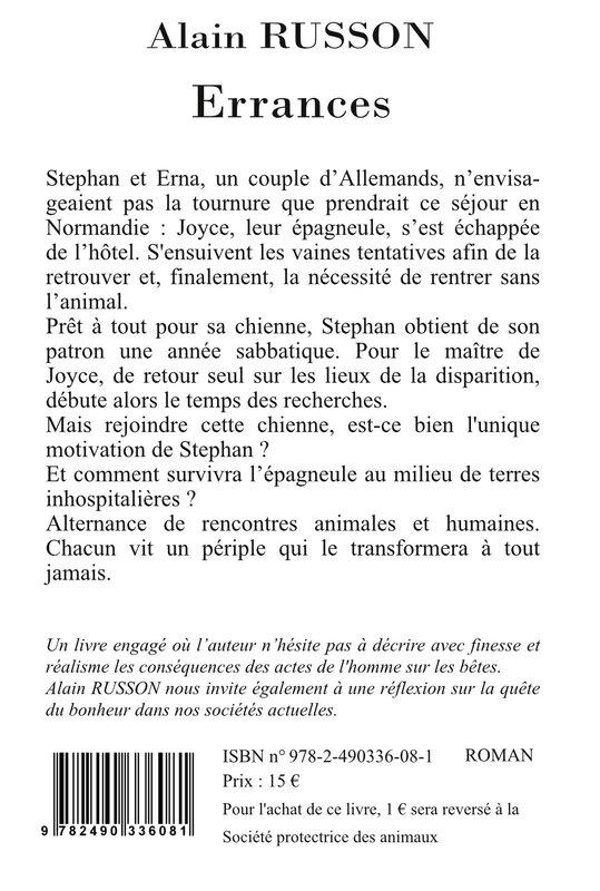 4ème couverture Errances - Alain RUSSON