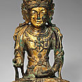 A gilt-bronze seated figure of bodhisattva avalokitesvara (gwanse'eum bosal), goryeo dynasty (13th -14th century)
