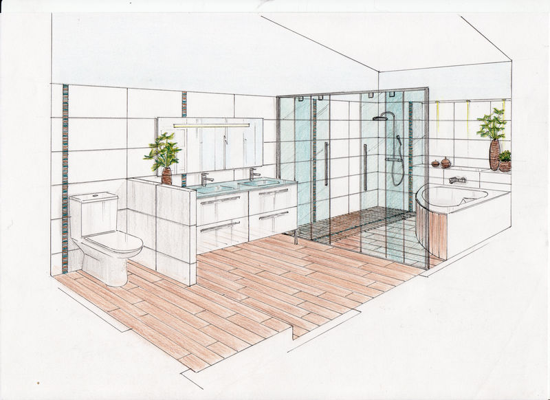 croquis en perspective de la future salle de bain photo de 07 conseils en am nagement. Black Bedroom Furniture Sets. Home Design Ideas