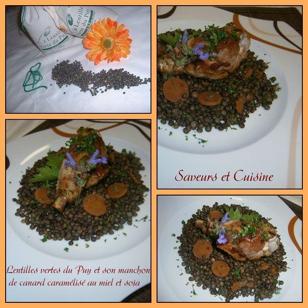 Lentilles vertes du Puy et son manchon de canard caramélisé
