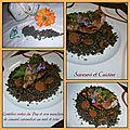 Lentilles vertes du puy et son manchon de canard caramélisé au miel et soja ... recette concours