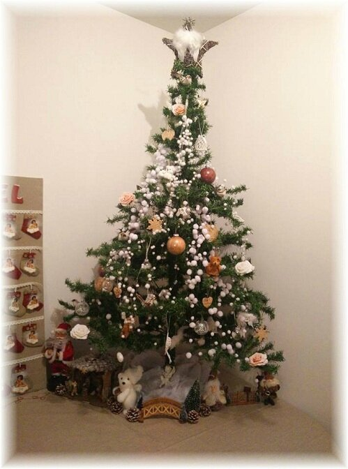 Decoration sapin noel rose et blanc