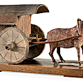 A painted grey pottery model of a bullock and cart, northern wei dynasty, 5th-early 6th century