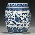 A fine and rare blue and white ming style barrel-form vase, qianlong seal mark and period