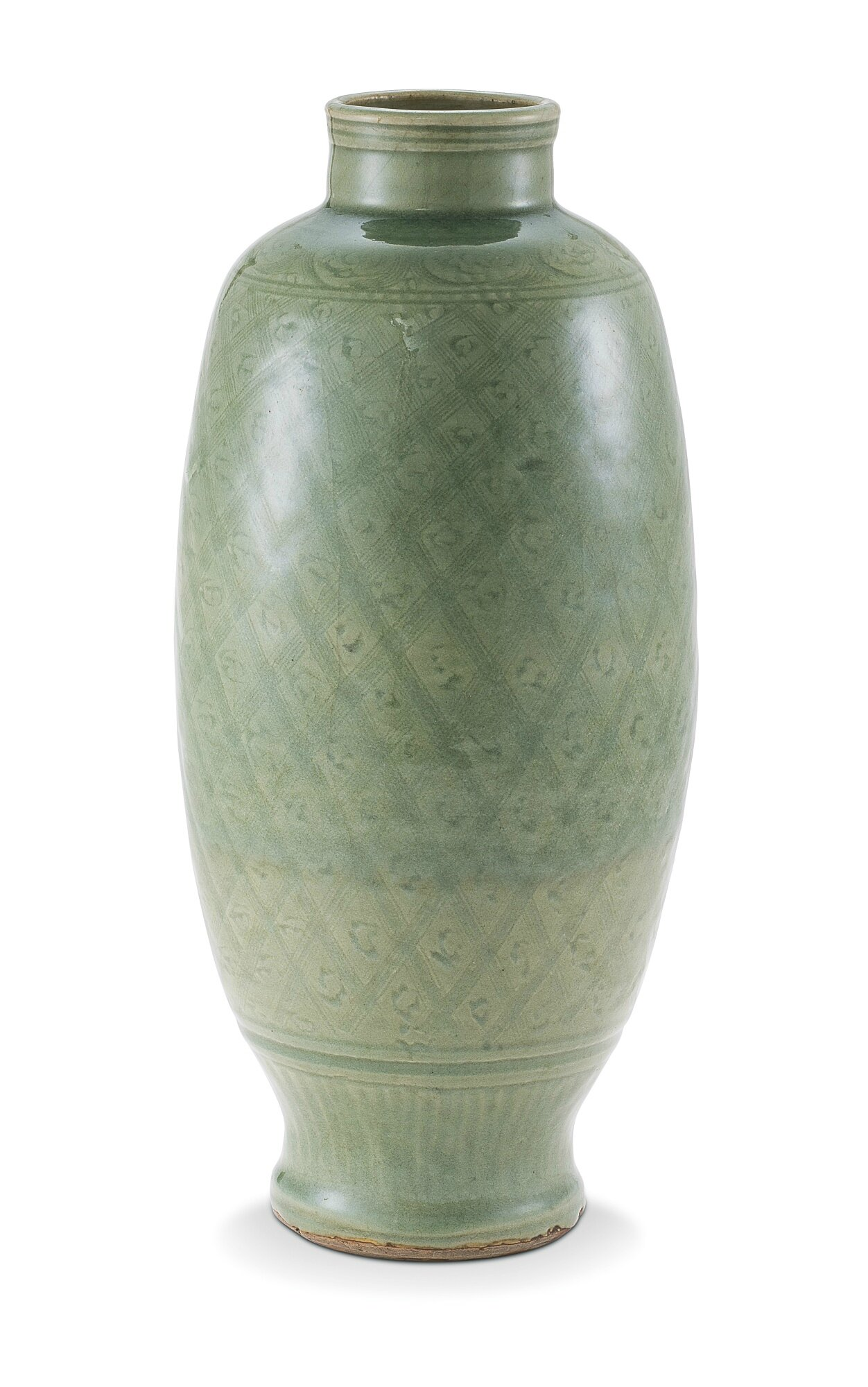A carved Longquan celadon vase, Ming Dynasty, 17th century