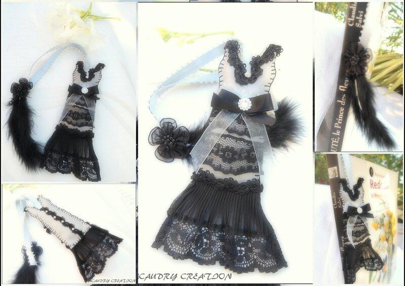 marque pages robe 1930 annees folles gris et noir lacaudry creation