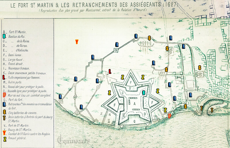 1627 les retranchements des assiègeants du fort Saint Martin de Ré