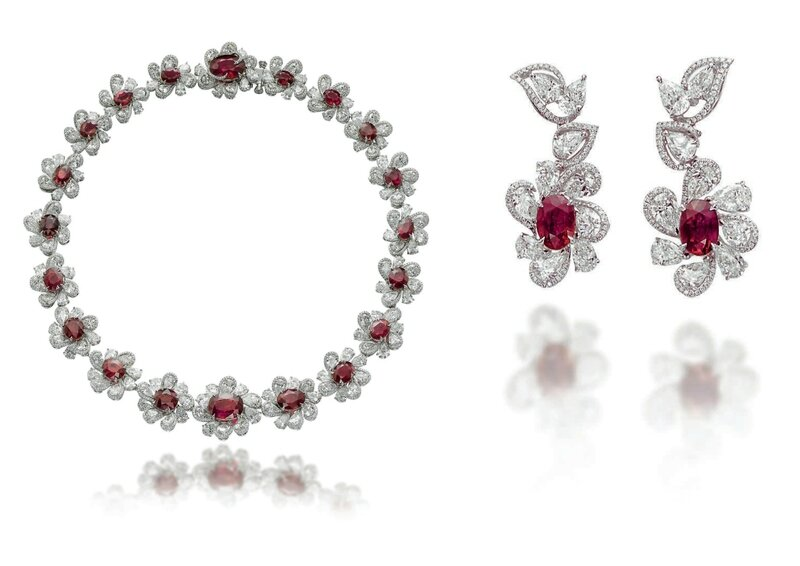An impressive set of ruby and diamond jewellery