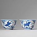 A pair of blue and white 'cranes' cups, wanli period (1573-1619)