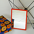 Vintage ... miroir de barbier seventies * orange