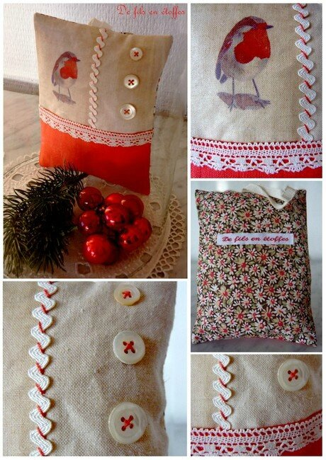 Rouge gorge coussin