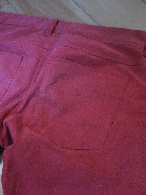 Jean's slim HOMME 4 poches en toilede coton velours rouge