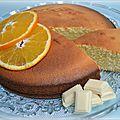 Gâteau à l'orange, au chocolat blanc et amandes