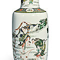 A famille-verte 'immortals' rouleau vase, qing dynasty, kangxi period (1662-1722)