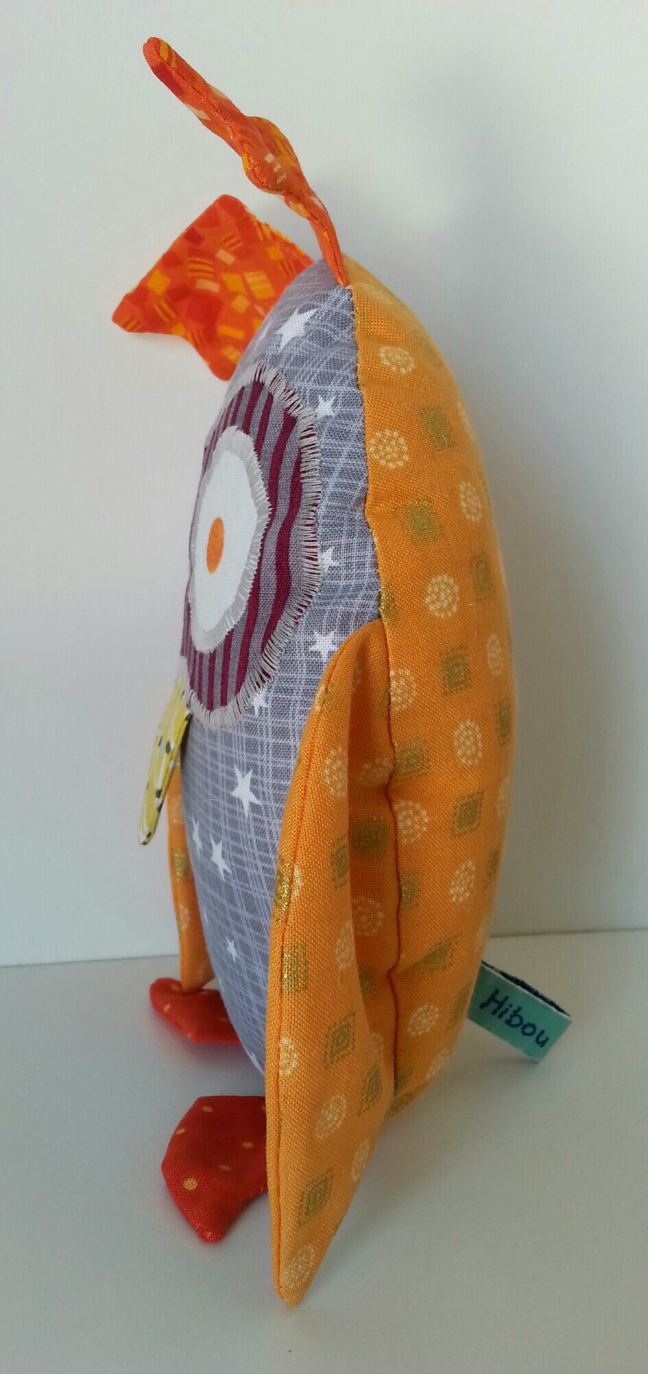 Doudou Hibou gris et orange (5)