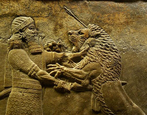 Lion hunt - Assyrian bas relief in the British Museum