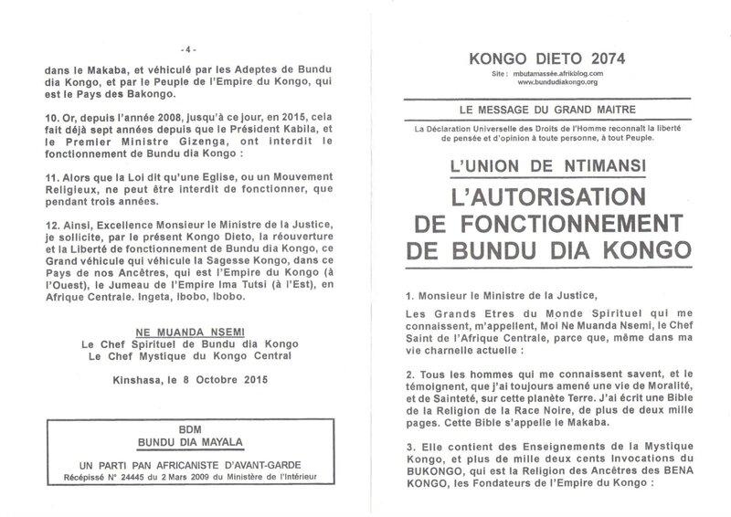 L'AUTORISATION DE FONCTIONNEMENT DE BUNDU DIA KONGO a
