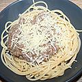 Spaghetti à la daube de bœuf hachée