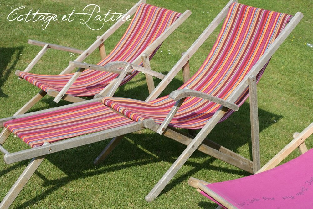 Fabulous Cottage Et Patine Refection Tissu Chaises Longues With Toile Chaise Longue Au Metre