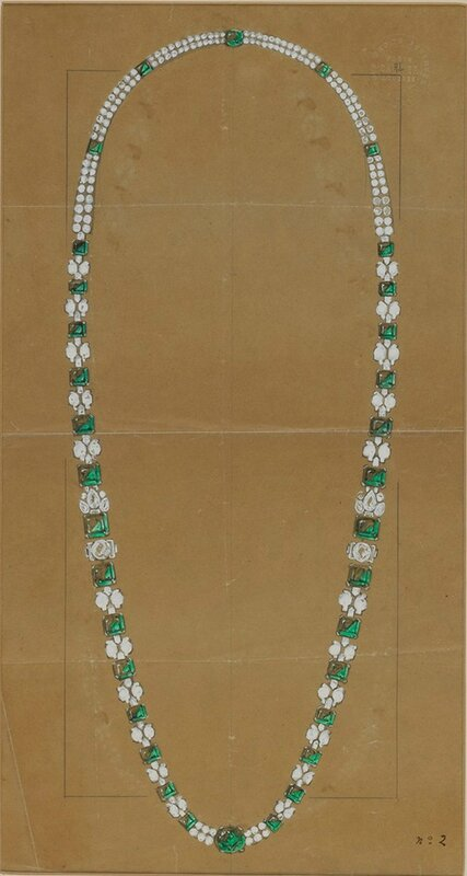 C-0363 CARTIER Important Emerald & diamond necklace, Modern style