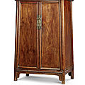A huanghuali round-corner tapered cabinet, yuanjiaogui, mid qing dynasty