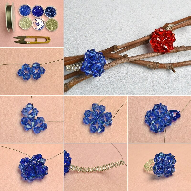 1080-Pandahall-Tutorial-on-How-to-Make-Diamond-Shaped-Rings-with-Glass-Beads