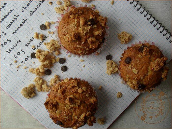 Muffins banane - muesli chocolat 2