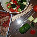 Brochettes express de viandes et de légumes croquants