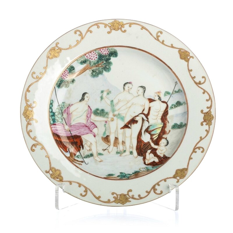 Plate in Chinese export porcelain, Judgment of Paris, 18th Century, Qianlong period