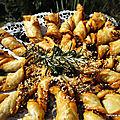 Etoile ou soleil ou fleur au confit de ratatouille au pesto orange et à la tapenade noire