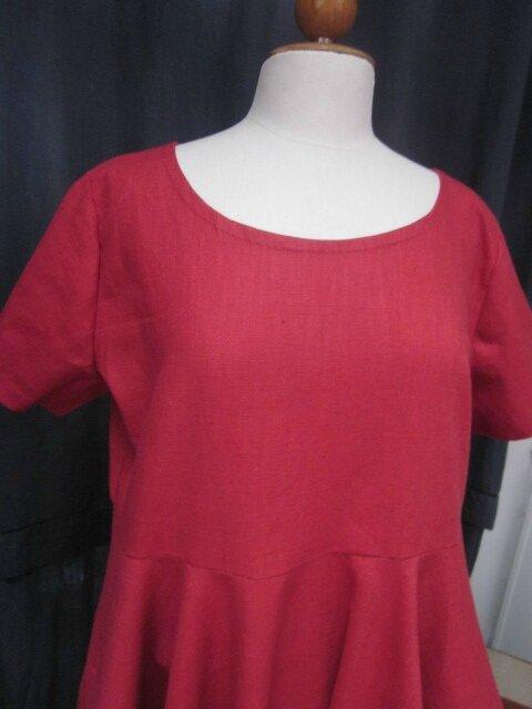 Robe EULALIE en lin rouge (3)