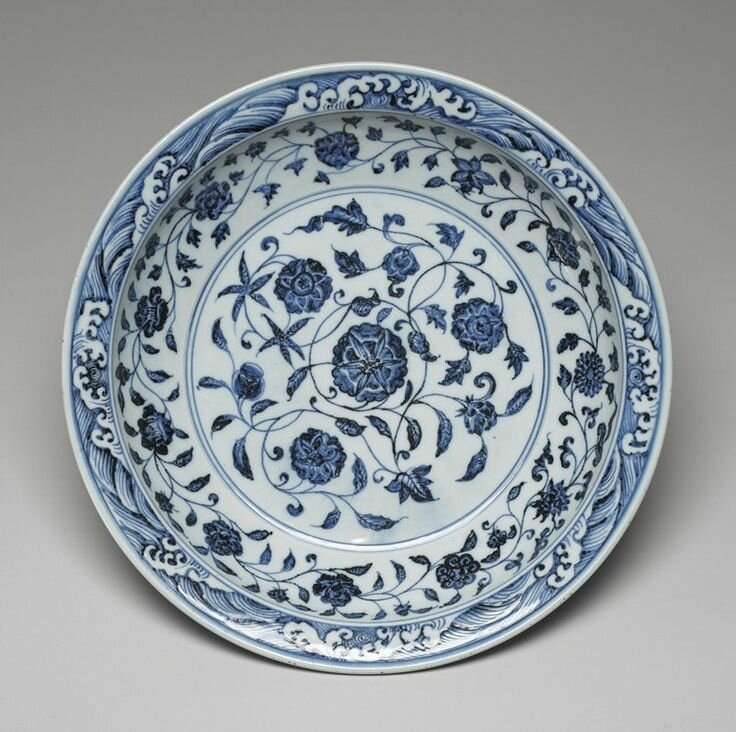 Imperial Deep Dish, Ming dynasty, Yongle period, 1403-1425. Porcelain with cobalt blue decoration under a clear glaze; 2 7/8 x 16 1/4 x 16 1/4 in. (7.3 x 41.28 x 41.28 cm). Gift of Ruth and Bruce Dayton, 2004.132.5. Minneapolis Institute of Arts © 2014 Min