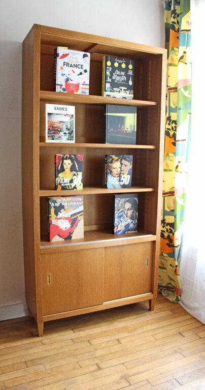bibliotheque-vintage-en-chene-dore