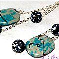 Des perles turquoises acryliques ... des perles noires en pâte fimo ... des tours eiffel ... des boucles d'oreille !!