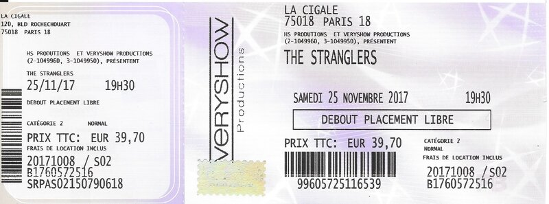 2017 11 25 The Stranglers Cigale Billet