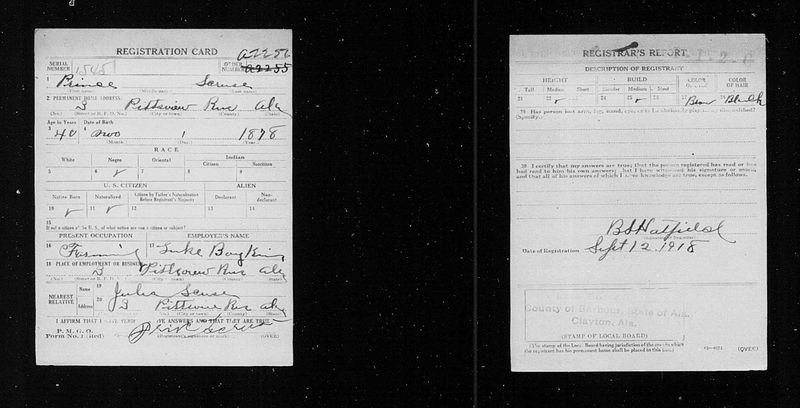 World War I Selective Service System Draft Registration Cards