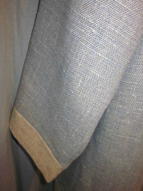 Manteau d'été bicolore en lin bleu fané et ficelle (4)