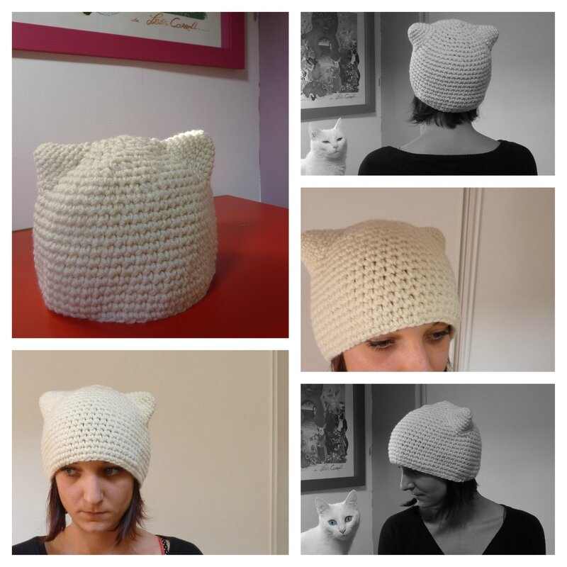 Bonnet Chat blanc