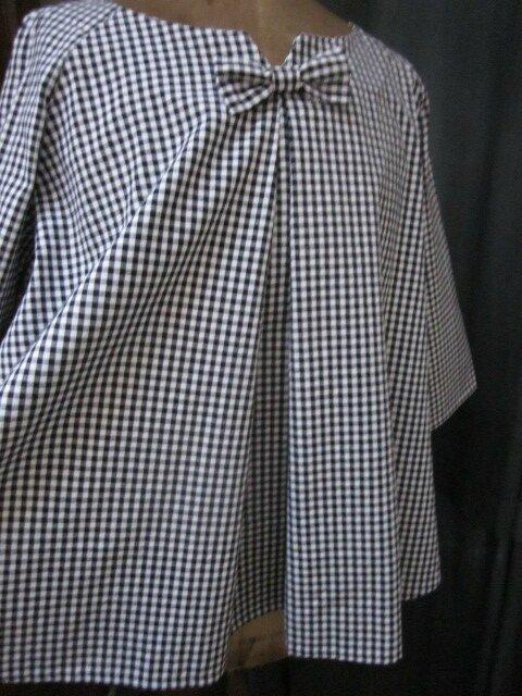 Guimpe COLETTE en coton vichy noir et blanc (3)