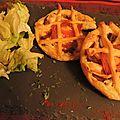 Tartelettes à aubergine-tomate-fromage à raclette.
