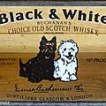 Objet pub ... miroir publicitaire black & white * whisky
