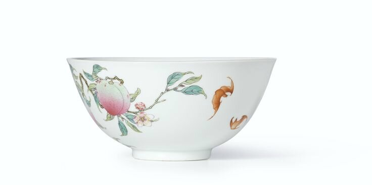 An extremely rare and superbly enamelled pair of Famille-Rose 'Peach' bowls, Marks and period of Yongzheng (5)