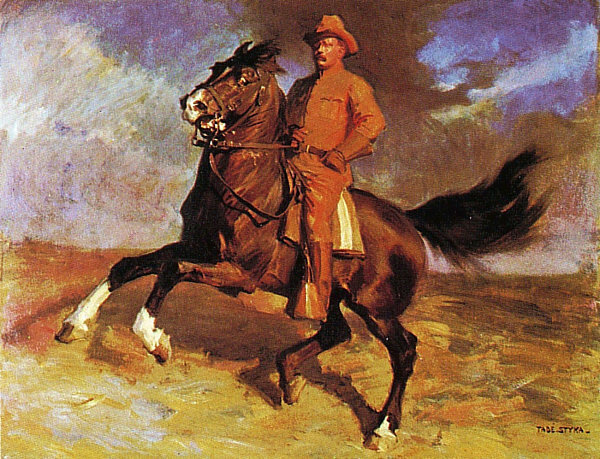 teddy Roosevelt as a rough rider on horseback
