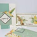 Cartes colibri - papiers esprit mosaïque