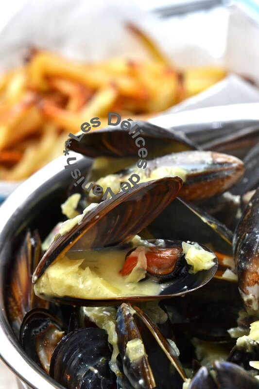 boursin ail et fines herbes, frites thermomix, moules