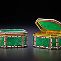 A magnificent and rare pair of canton tribute bejewelled and jadeite-inlaid silver-gilt boxes, qianlong period (1736-1795)