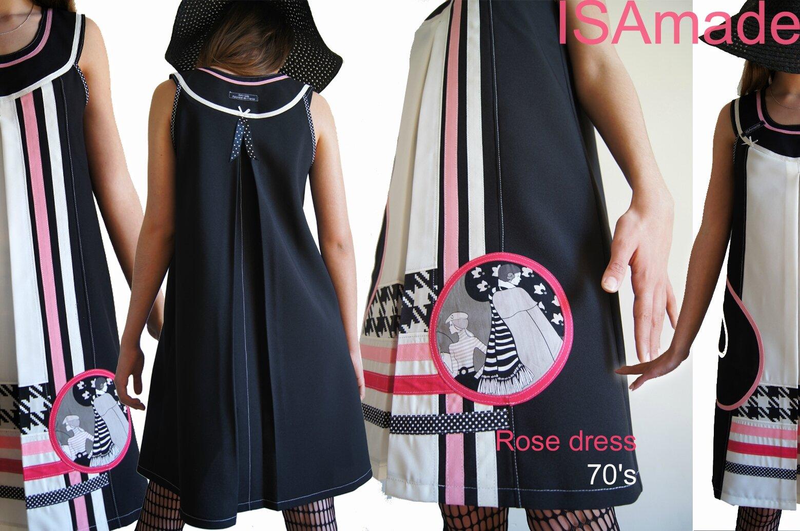 Robe trapèze noire blanche imprimé vintage et Rose