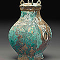 A bronze ritual wine vessel,fanghu, han dynasty (206 bc-ad 220)