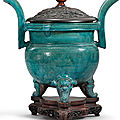 A turquoise-glazed censer and wood cover, late ming-early qing dynasty