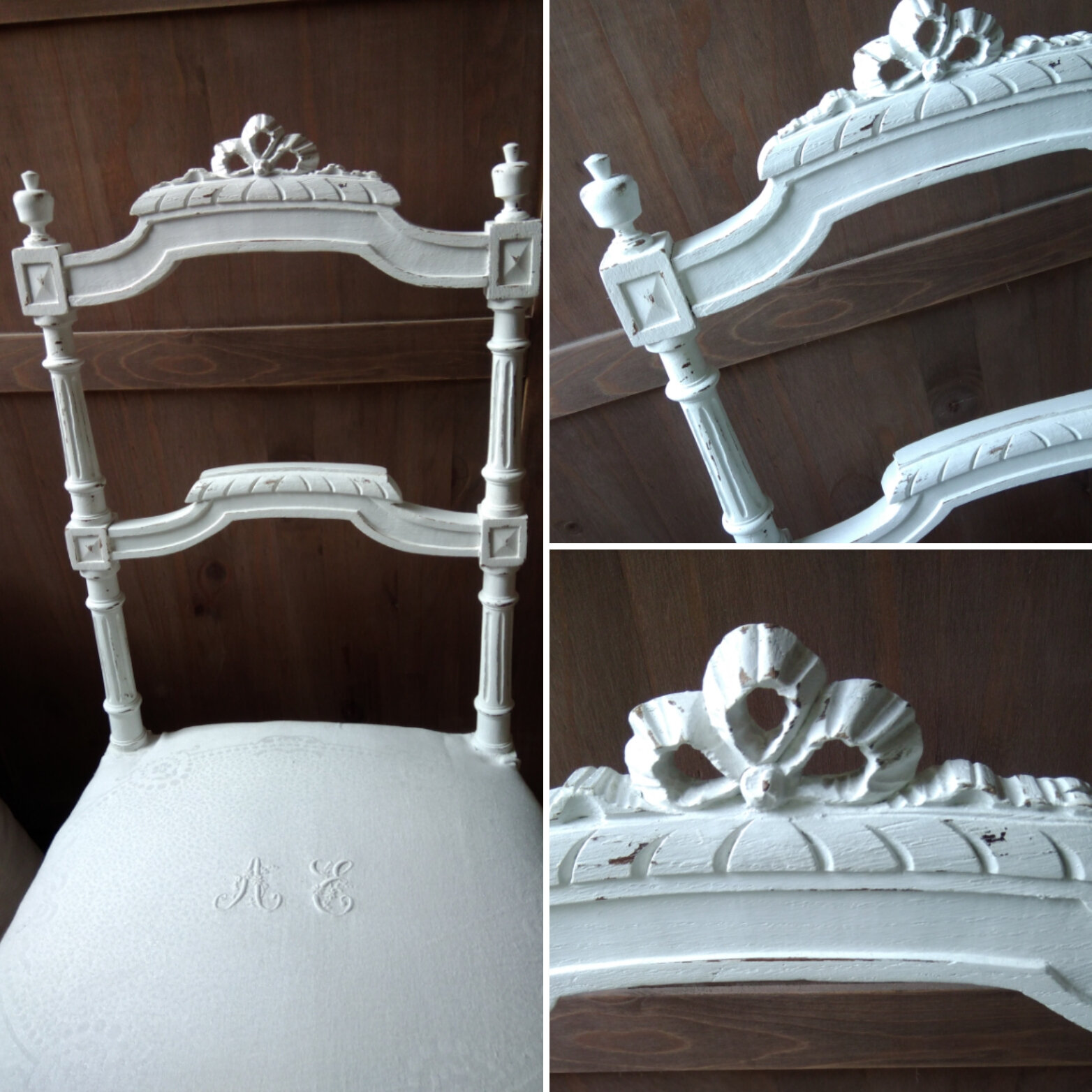 Ancienne chaise patiné blanc poudré